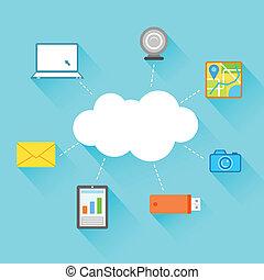 apartamento, tecnologia, desenho, nuvem, computando
