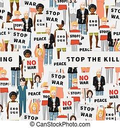 apartamento, torcida, pessoas, antiwar, seamless, demonstração, padrão