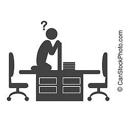 apartamento, trabalhador escritório, isolado, disappeared, branca, ícone