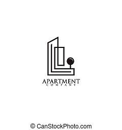apartamento, vetorial, desenho, modelo, logotipo, inspiração