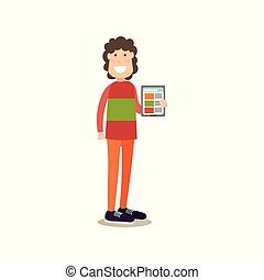 apartamento, vetorial, internet, ilustração, pessoas