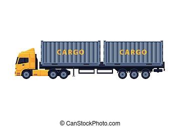 apartamento, vetorial, reboque, branca, caminhão, estilo, carga, vista lateral, ilustração, despacho, fundo, veículo, isolado