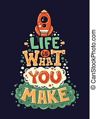 apartamento, vida, desenho, citação, modernos, ilustração, hipster, frase