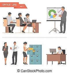 apartamento, workers., escritório, pessoas negócio, isolado, ilustração, experiência., vetorial, desenho, branca