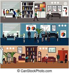 apartamento, workers., escritório, pessoas negócio, meeting., desenho, interior., apresentação, ou