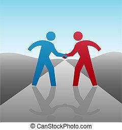 aperto mão, pessoas negócio, junto, progresso, sócio