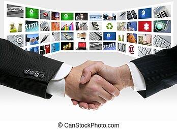 aperto mão, tv, comunicação, tela, tech, vídeo