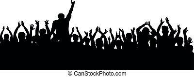 aplauso, torcida, pessoas, silhouette., alegre, ventiladores, partido, concerto
