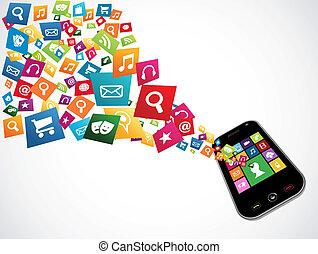 aplicações, download, smartphone