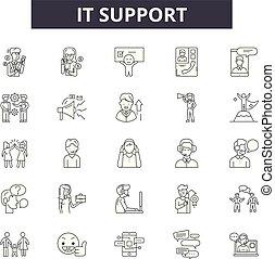 apoio, illustration:, ajuda, jogo, aquilo, esboço, conceito, apoio, vector., cliente, ícones, linha, serviço, contato, sinais, técnico