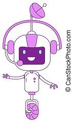 apoio, magra, object., futurista, linha, cute, telemarketing, cyborg, operador, bot, online, ilustração, símbolo., linear, headset, violeta, modernos, esboço, robô, serviço, ai, fundo, branca, isolado
