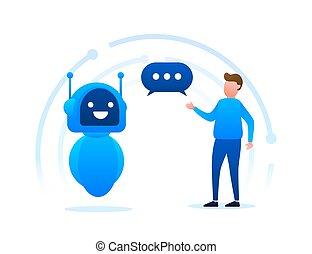 apoio, voz, símbolo, bot, design., chatbot, robô, vetorial, concept., illustration., serviço, bot., icon., sinal, online