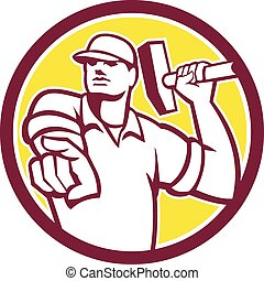 apontar, demolição, trabalhador, retro, círculo, martelo