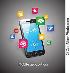 app, smartphone, nuvens, ícones