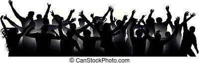 applause., cima., concerto, aplaudindo, torcida, pessoas, dança, festival., isolado, silhouette., alegre, ventiladores, vetorial, discoteca, mãos, dançar, partido