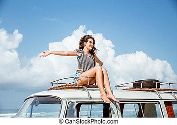 apreciar, sopro, mulher, aumento, beleza, telhado, mãos, vento