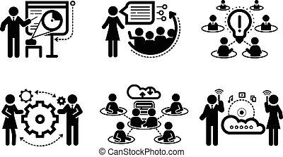 apresentação, conceito, trabalho equipe, ícones negócio
