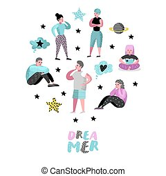 aproximadamente, mulher, thinking., pessoas, jovem, ilustração, alegre, something., characters., vetorial, future., sonhar, feliz, sonho, caricatura, homem