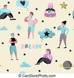 aproximadamente, mulher, thinking., pessoas, pattern., seamless, ilustração, jovem, characters., vetorial, alegre, algo, future., sonhar, feliz, sonho, caricatura, homem
