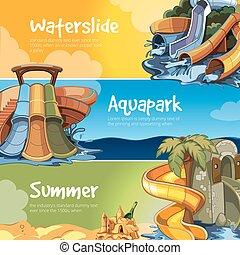 aquapark., água, deslizamentos