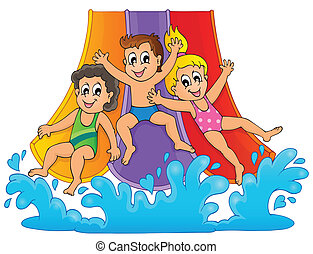 aquapark, 1, imagem, tema
