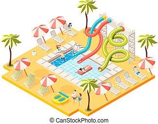 aquapark, conceito, isometric