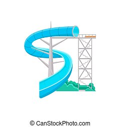 aquapark, escorregar, água, ícone, azul