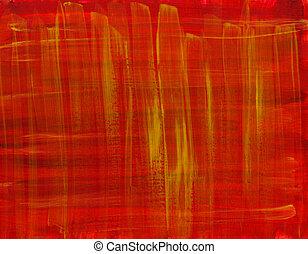 aquarela, abstratos, fundo, amarela, vermelho