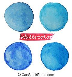 aquarela, bacground., manchas, azul, vecto, branca, jogo