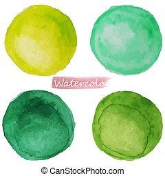 aquarela, bacground., manchas, vecto, branca, jogo, verde