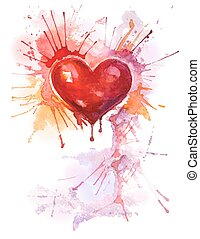aquarela, coração, fundo, vertical, vermelho