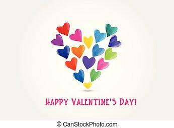 aquarela, coração, valentines, amor, logotipo