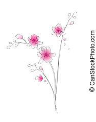 aquarela, esboço, vetorial, orquídea