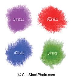 aquarela, jogo, splatters., coloridos
