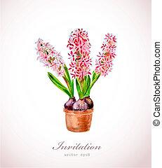 aquarela, lar, vase., flores
