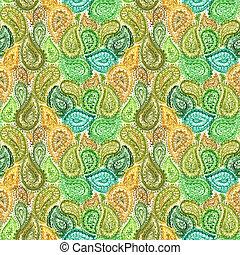 aquarela, paisley, padrão, papel parede, seamless, têxtil, ornate, floral