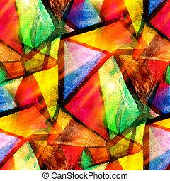 aquarela, triangulo, cor, padrão, abstratos, seamless, textura, água, pintura, amarela, desenho, papel, fundo, verde, arte, vermelho
