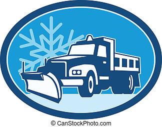 arado, caminhão, neve, retro