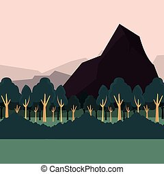 arbustos, montanhas, natural, floresta, paisagem