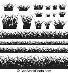 arbustos, padrão, capim, silueta, seamless