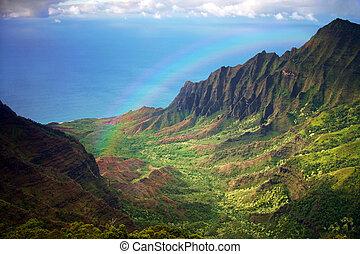 arco íris, aéreo, fron, litoral, kauai, vista