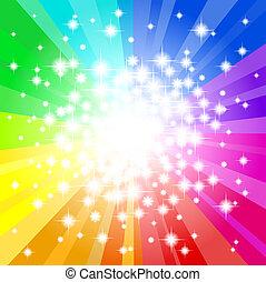 arco íris, abstratos, estrela, experiência colorida