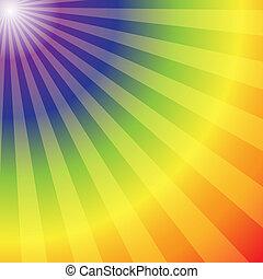 arco íris, abstratos, raios, fundo, radial