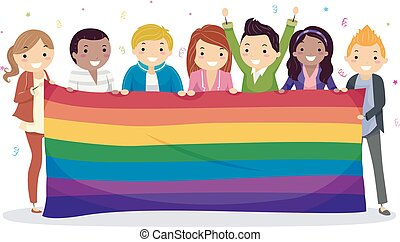 arco íris, adolescentes, bandeira, comemorar, stickman