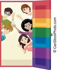 arco íris, adolescentes, porta, ilustração, lgbt