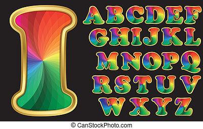 arco íris, alfabeto, coloridos