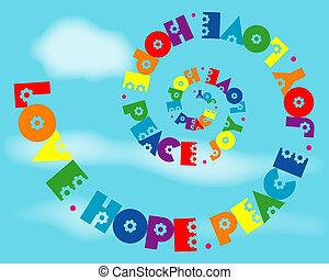 arco íris, amor, alegria, paz, espiral, esperança