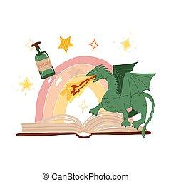 arco íris, apartamento, vetorial, estrelas, around., livro, isolado, dragão, abertos, magia, illustration., desenhado, poção, mão