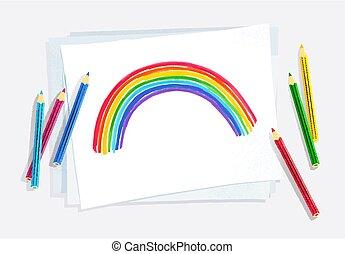arco íris, arco, criança, desenho