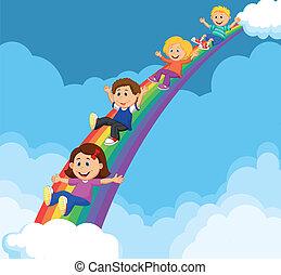arco íris, baixo, caricatura, crianças, deslizamento